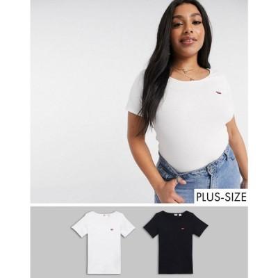 リーバイス Levi's Plus レディース Tシャツ 2点セット トップス Levi'S Plus Online Exclusive 2 Pack Tee'S In Multicolour ホワイト/ブラック