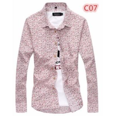 人気モデル メンズ美品 細身 花柄シャツ 長袖シャツ きれい目 アロハシャツ C07