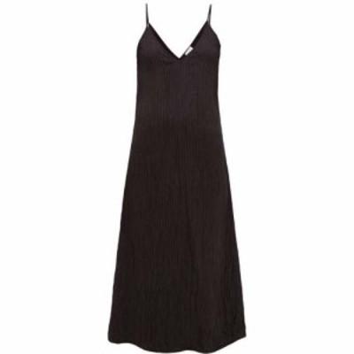 レイ Raey レディース ワンピース スリップドレス Vネック ミドル丈 ワンピース・ドレス V-neck crinkled-silk midi slip dress Black