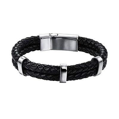 ブレスレット メンズ レザー 腕輪 アクセサリー 黒 2連ブレスレット プレゼント ジュエリー 編みこみレザー 21cm  ブラック2連21cm