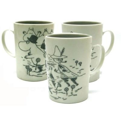 3個組 MOOMIN ムーミンスリムマグカップ (日本製) マッド仕上げ グレイ