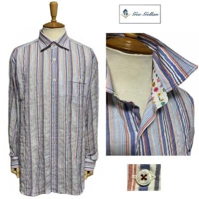 セール GEE GELLAN ジーゲラン GEEGELLAN 楊柳 シワ加工 ストライプ 長袖シャツ 清涼 安心の日本製