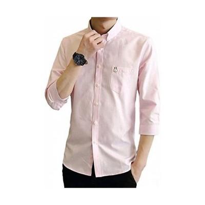 (ヴォンヴァーグ) ventvague カジュアル 七分袖 シャツ ボタンダウン ワイシャツ カットソー トップス メンズ (ピンク XL)