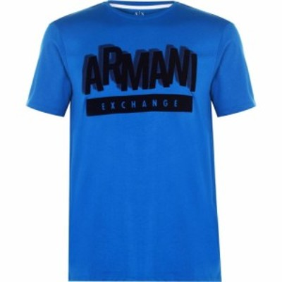 アルマーニ Armani Exchange メンズ Tシャツ ロゴTシャツ トップス Flock Logo T Shirt Blue