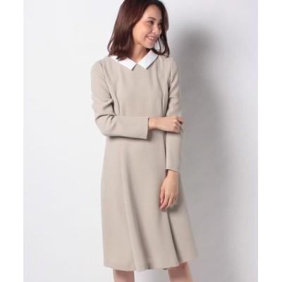 MISS J/ミス ジェイ 白襟×トリアセダブルクロス ドレス ベージュ 38