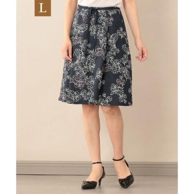 スカート 【L】【ウォッシャブル】ラインフラワープリントスカート