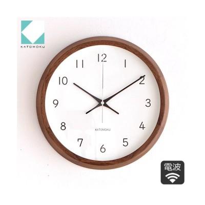 加藤木工 カトモク KATOMOKU muku round wall clock 13 ウォールナット 電波時計 壁掛け スイープムーブメント KM-104WARC