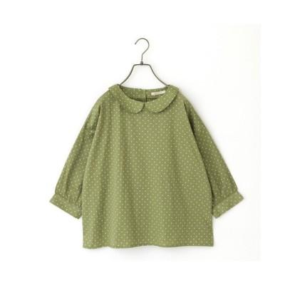 【アールエムストア】 27063 ドットプリント衿付きブラウス レディース グリーン M RM STORE