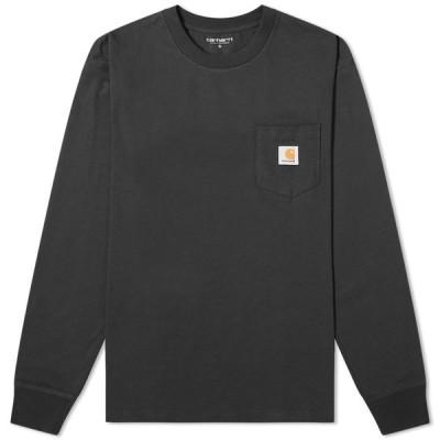 カーハート Carhartt WIP メンズ 長袖Tシャツ ポケット トップス Long Sleeve Pocket Tee Black