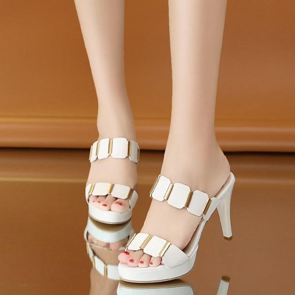 魚口鞋 細跟拖鞋2021防水臺魚嘴一字外穿涼高跟鞋拖女拖鞋夏季新款韓版涼 晶彩