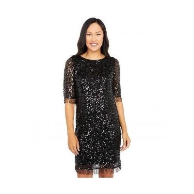 Taylor テーラー レディース 女性用 ファッション ドレス All Over Sequins on Mesh A-Line Dress with Beaded Fringe Trim - Black