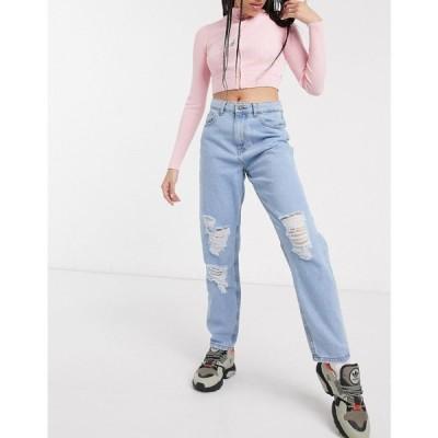 ノイズィーメイ Noisy May レディース ジーンズ・デニム ボトムス・パンツ destroyed mom jeans in light wash ブルー
