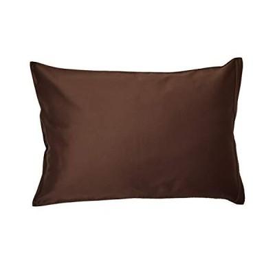 枕カバー ( 43x63cm枕用 ショコラブラウン) 日本製 コットン100% 高級サテン 超長綿 80番手 330本高密度生地 ダニ通過0