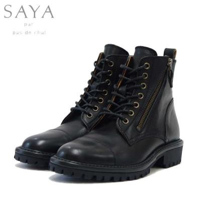 SAYA(サヤ) 50668 ブラック マニッシュレースアップブーツ