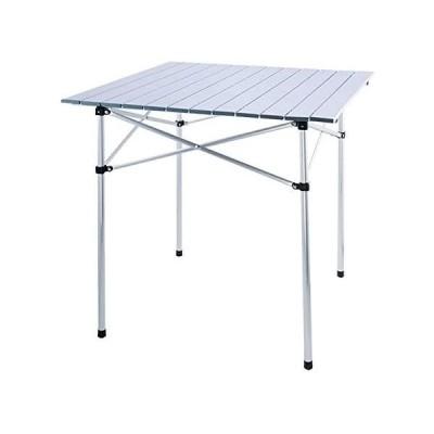 ロールテーブル 折り畳み式 テーブル アルミ製 ロール式天板 収納袋付き キャンプ BBQテーブル (シルバー, 70cm×70cm×70cm) [並