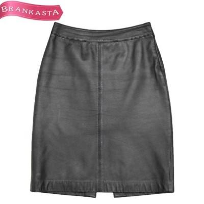 DKNY ダナキャラン シープスキン 背面スリット入り Aラインスカート 4 ブラック スカート \緊急SALE開催中/22jx98