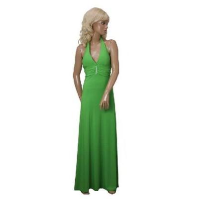 ストレッチジャージー ホルターロングドレス ラインストーン付き グリーン S・M・Lサイズ