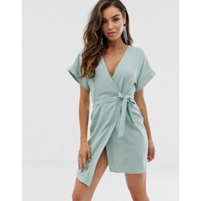 エイソス ASOS DESIGN レディース ワンピース ラップドレス ミニ丈 ワンピース・ドレス Wrap Mini Dress セージグリーン