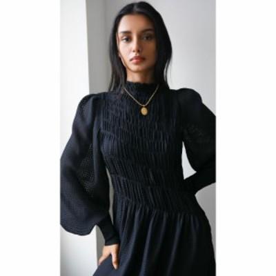 ヴィクトリア ベッカム Victoria Beckham レディース ワンピース 長袖 ワンピース・ドレス Long Sleeve Smocked Midi Dress Black/Black