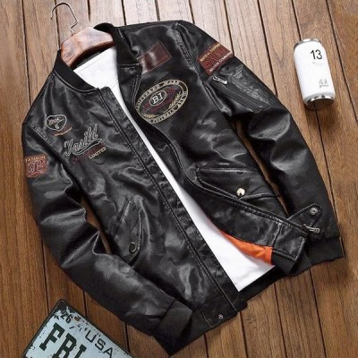 メンズ ライダースジャケット ボンバー スリム 合皮 かっこいい