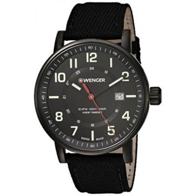 ウェンガー 腕時計 メンズウォッチ Wenger Men's 'Attitude Outdoor' Swiss Quartz Stainless Steel and Nylon Casual Watch, Color:Black (Model: