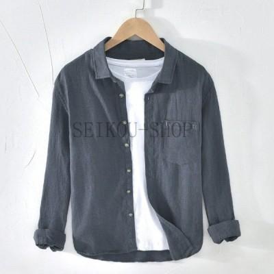 麻シャツ 夏トップス 麻100% 長袖無地 メンズ バンドカラー胸ポケットシャツ リネンシャツ