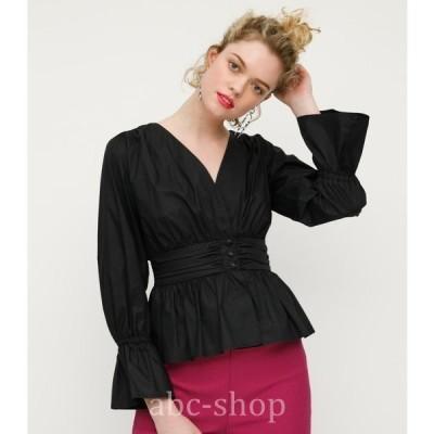 フロントボタンブラウストップスレディースシャツブラウスVネックボタンウエストマーク春wear.com