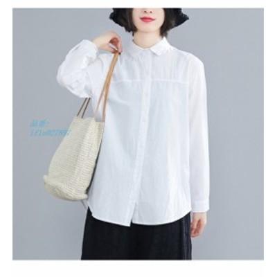 シャツ ロングシャツ ホワイトシャツ 白 フレディース 無地 綿麻混 30代 コットン リネン 40代 長袖 チュニック ボタン付き 大きめ 白 ト