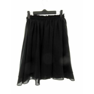 【中古】ジュエルチェンジズ Jewel Changes アローズ スカート フレア ひざ丈 無地 黒 ブラック /M2 レディース
