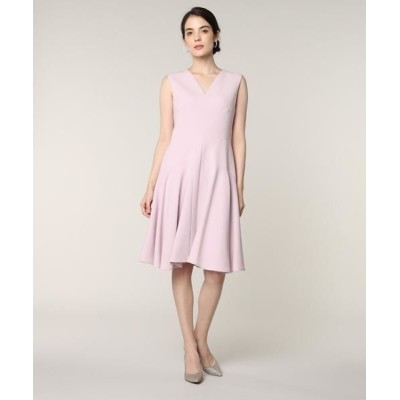 ef-de/エフデ 《M Maglie le cassetto》Vネック切り替えドレス ピンク1 11