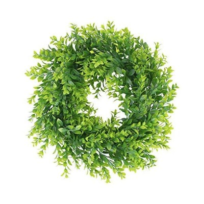 Geboor 16 inch Artificial Boxwood Wreath Green Leaves Wreath Indoor Outdoor