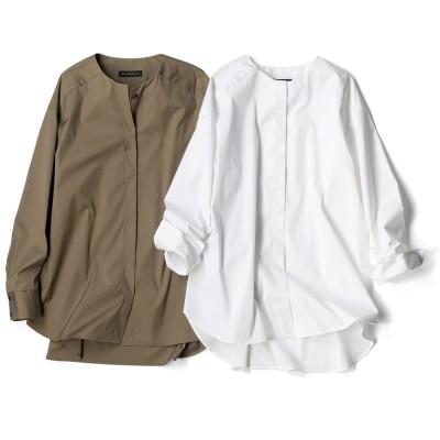 コットンブロード ノーカラー シャツ ホワイト 3:LL−