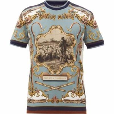 ドルチェandガッバーナ Dolce and Gabbana メンズ Tシャツ トップス Shepherd-print cotton-jersey T-shirt Blue