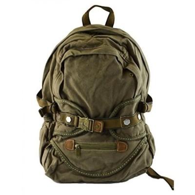 キャンプ&ハイキング ミリタリーファッション キャンバス ヴィンテージを見てフルサイズの本・屋外 Backpack(6037) グリーン