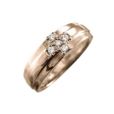 ダイアモンド リング クロス ファイブ ストーン 4月誕生石 k10ピンクゴールド