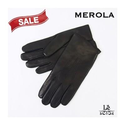 MEROLA メローラ グローブ レザーグローブ 手袋 本革 ブラック 黒 革手袋 ナッパレザー メンズ イタリア 国内正規品