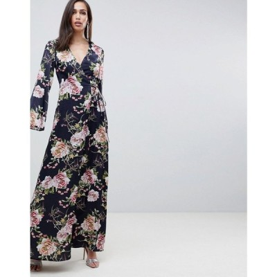 エイソス ASOS DESIGN レディース ワンピース ワンピース・ドレス satin wrap maxi dress in navy floral print Navy floral