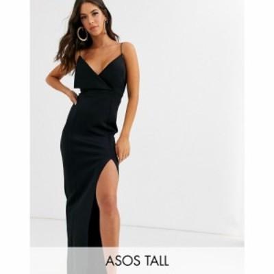 エイソス ASOS Tall レディース ワンピース マキシ丈 ワンピース・ドレス asos design tall fold front scuba maxi dress ブラック