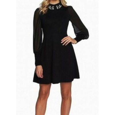 CeCe  ファッション ドレス CeCe NEW Black Chiffon Embellished Knit Womens Size XXS A-Line Dress