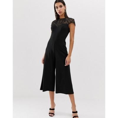 リプシー レディース ワンピース トップス Lipsy culotte jumpsuit with embellished yoke in black Black