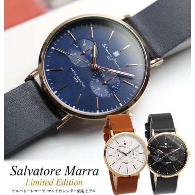 Salvatore Marra サルバトーレマーラ 腕時計 薄型スリム マルチカレンダー 本革レザー メンズ 革ベルト レザー 限定モデル SM15117L