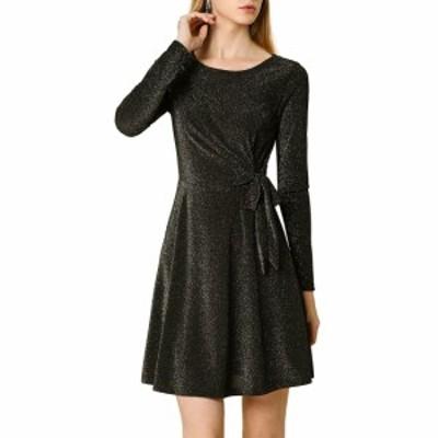Allegra K aラインワンピース ドレス メタリック ボートネック 長袖 きらきら レディース ブラックxS