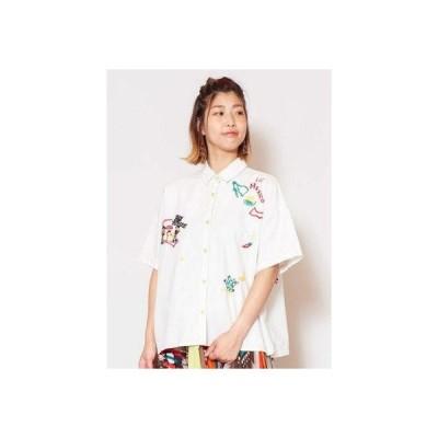 【チャイハネ】カラベラ刺繍シャツ ホワイト