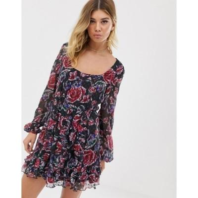 テルーラ レディース ワンピース トップス Talulah Ardour floral print ruffle sleeve dress