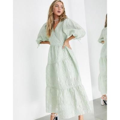 エイソス レディース ワンピース トップス ASOS EDITION textured floral wrap midi dress