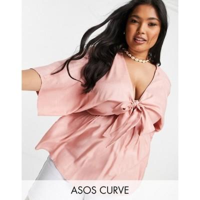 エイソス レディース シャツ トップス ASOS DESIGN Curve tie front kimono top in pink
