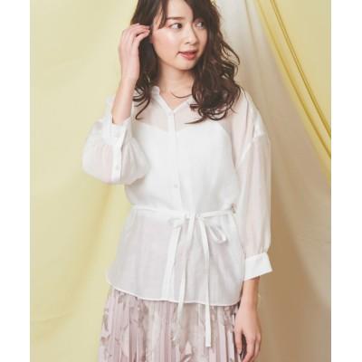 【ノエラ】 シアーチュニックシャツ レディース オフホワイト F Noela