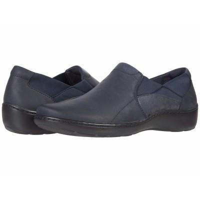 クラークス スニーカー シューズ レディース Cora Lilac Navy Leather/Textile Combination