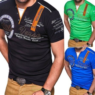 ZOGAA 男性 夏 カジュアル半袖レタープリント ポロシャツビジネスデザイナー 男性服 グループ上 メンズ服 から ポロ 中