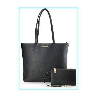 【新品】Women's Tote Faux Leather Shoulder Handbag With Zipper Pouch Wristlet(Black)(並行輸入品)